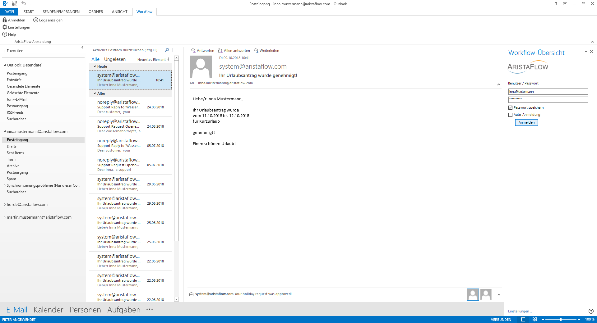 Workflow Add-In für Outlook